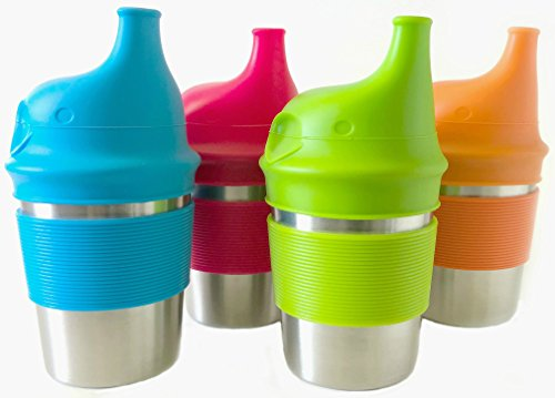 Stainless Steel Sippy Cups for Toddlers & Kids with BPA Free Silicone Lids and Nonslip Grips, 8oz (4-pack) (Leak Lids)