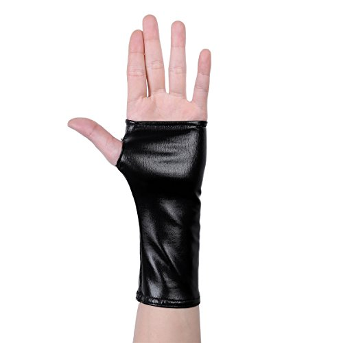 TiaoBug Women Wet Look Patent Leather Half Fingerless Thumb Hole Mini Gloves Black One Size