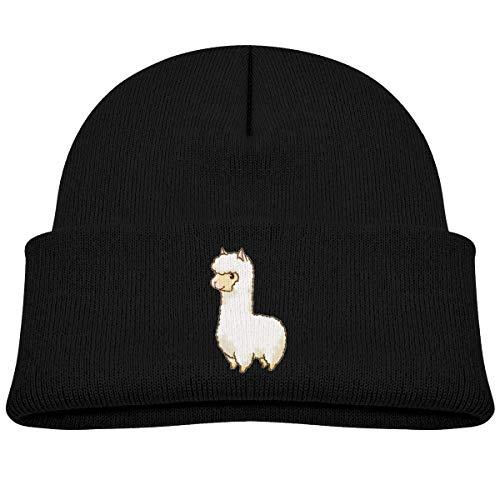 Kids Knitted Beanies Hat Llama Winter Hat Knitted Skull Cap for Boys Girls Black