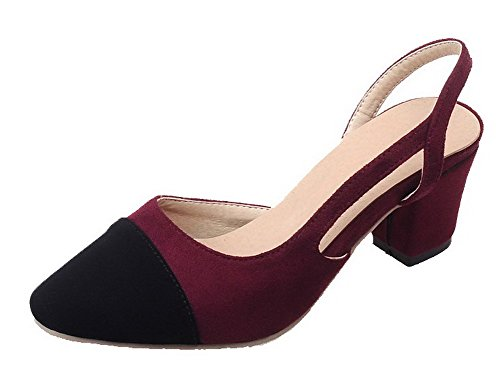 VogueZone009 Women's Pull-On Kitten-Heels Assorted Color Pumps-Shoes Claret s6gGOwPQF