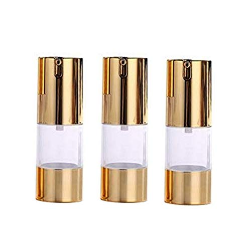 3Pcs Plastic Airless Pump Bottles - Golden Empty Refillable Vacuum Bottle For Cosmetic Makeup Lotion Emulstion Toiletries Liquid Sample Package Container Jar ()