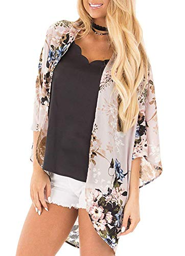 Women Summer 3/4 Sleeve Tops Blouse Relaxed Flower Printed Casual Kimono Cardigan Coat Dark Pink Size M