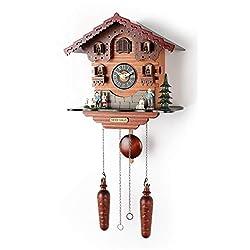 Polaris Clocks Small Cuckoo Wall Clock with Night Mode Option, Singing Bird, Weights and Swinging Pendulum (Multicolor)