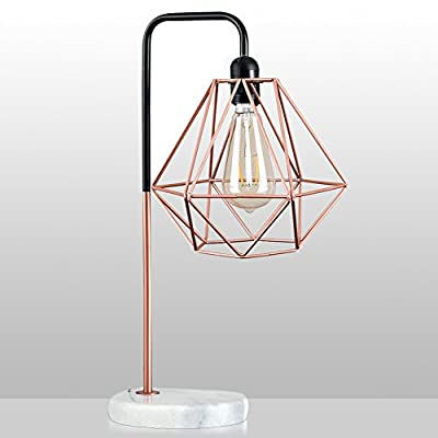 Desk Lamp, Frideko Vintage Industrial Metal Wire Cage Stand Desk Light with Marble Base, Iron Diamond Lamp Shade Bedsides Table Light for Home Office Cafe Restaurant