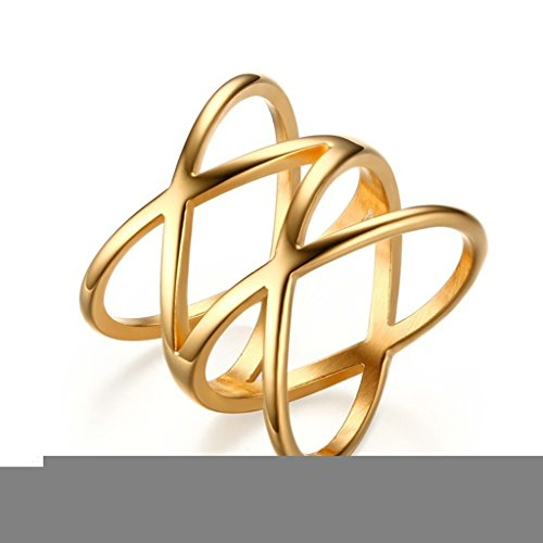 Alimab Jewelery Rings Womens Stainless Steel Wedding Bands Smooth X Cross Gold Size 9