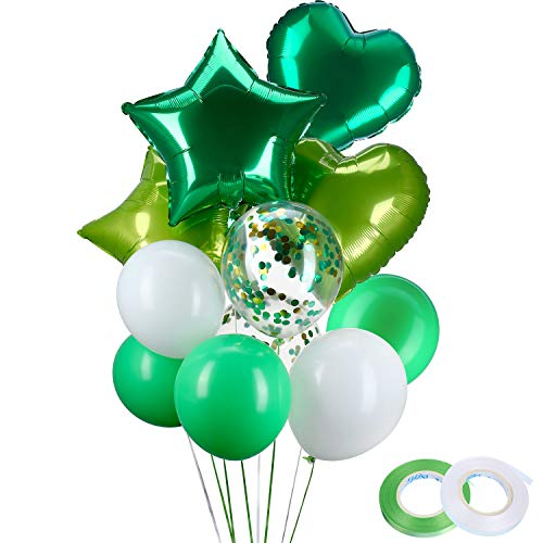 40 Pieces Latex Balloons Confetti Balloons with 4 Pieces Heart Star Foil Balloons for Birthday Dinosaur Party Decoration, White Green -
