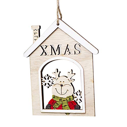 Kirbaez_Christmas Ornaments Wooden Shapes Santa Claus Decorations Craft Xmas Gifts (Khaki, C) ()