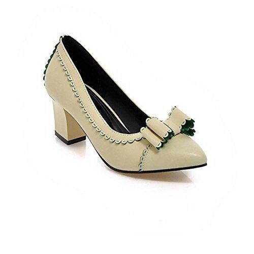Beige Nero HSignora e primavera nodo scarpe rosa antiscivolo della farfalla H Bianco dell'autunno pizzo Beige aguzzo 41 tallone nYaHdqtw