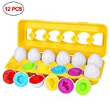Aitey Matching Egg Set, Easter Eggs Toddler Egg Toys Shapes and Colors Recognition Skills Educational Learning Toy for Kids Boy Girl Gift Age 1 2 3 (12 Eggs)