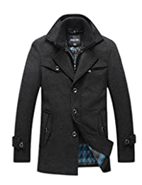 Oncefirst Men's Turn Down Collar Single Breasted Zip Wool Coat