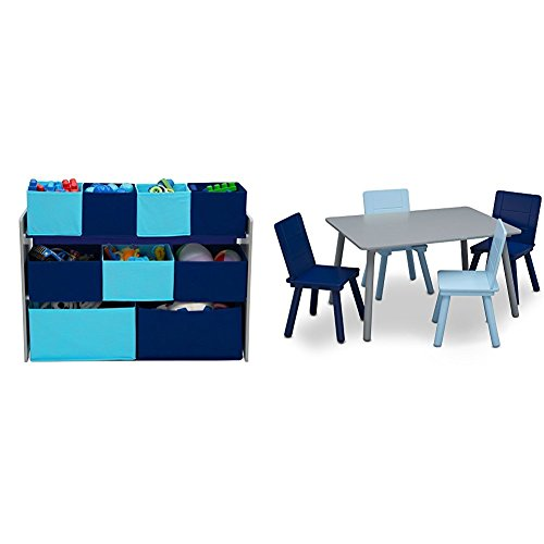 Delta Children Deluxe Multi-Bin Toy Organizer Kids Table and Chair Set, Grey Blue