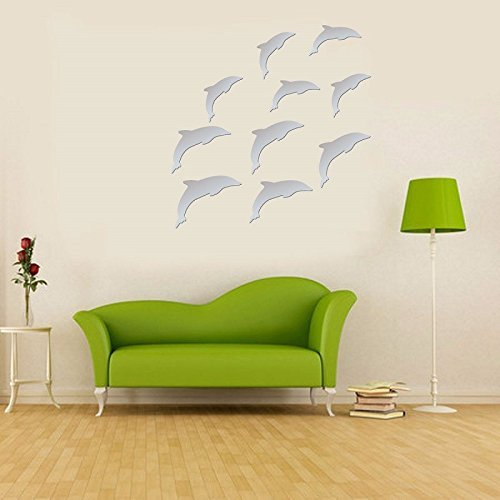 DIY Mirror 10Pcs Silver Dolphins Wall Sticker 3D Acrylic Removable Modern Art Mural Home Mirror - Mall Store Dolphin