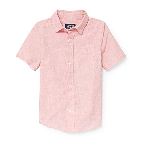 The Children's Place Big Boys' Short Sleeve Uniform Oxford Shirt, Carnation Coral 3822, L (10/12)