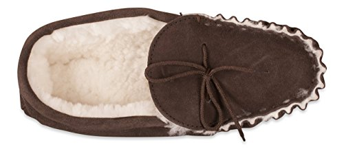 Nordvek Premium Mens 100% Sheepskin Moccasin Slippers With Non-Slip Hard Sole # 420-100 Chocolate 4d1HsT
