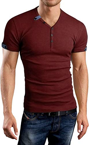 Aiyino Men's Summer Casual V-Neck Button Cuffs Cardigan Short Sleeve T-Shirts L-Wine Red (Best Fashion Clothes For Men)
