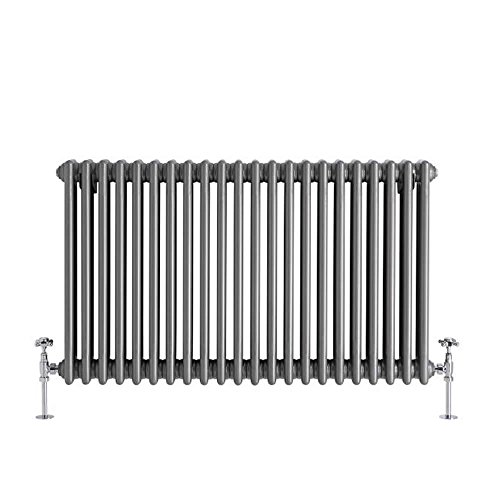 - Hudson Reed - Regent - Horizontal 3-Column Traditional Cast-Iron Style Radiator In Raw Metal Lacquer - 23.5'' x 40''