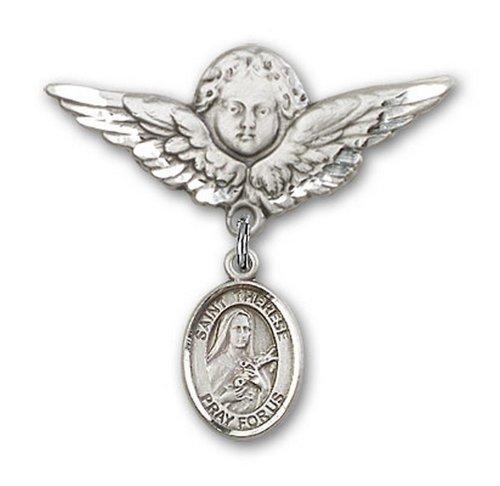 Icecarats Créatrice De Bijoux En Argent Sterling St. Thérèse De Lisieux Charme Ange Broche De Badge 1 1/8 X 1 1/8