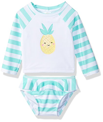 Gymboree Baby Girls 2-Piece Long Sleeve Rashguard Set, Sweet Mint Stripe, 6-12 Mo