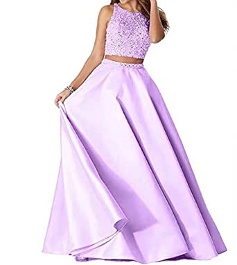 FNKS CRAFT Two Pieces Beaded Prom Evening Dresses Satin Open Back Wedding Party Gowns 2018 Lanvender US12