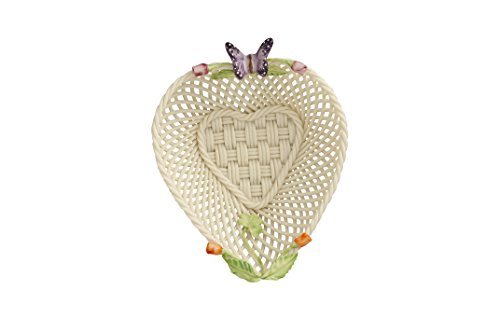 Belleek 4346 Rose Bud Heart Basket, 5-inch, Multicolor
