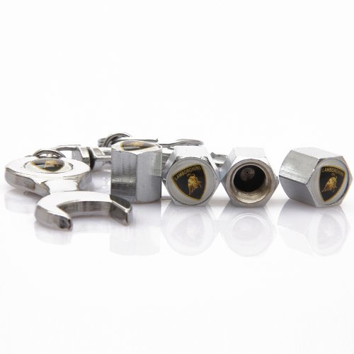 Set of 4 Tire valve stems Caps with Wrench Keychain For Lamborghini