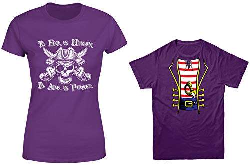 HAASE UNLIMITED to ERR is Human/Pirate Costume 2-Pack Youth & Ladies T-Shirt (Purple/Purple, Ladies X-Large/Youth X-Small) ()