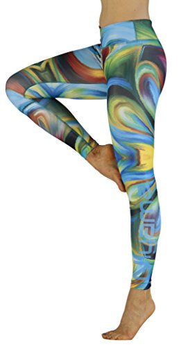 (Artistic and Unique Yoga Pant for Women - Acrylic Storm - Compression Legging. )
