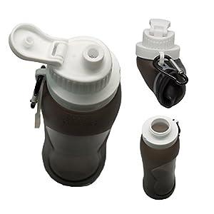 Fansino Foldable Water Bottle - Leak Proof Twist Cap - BPA Free, 17 Ounce (Black)