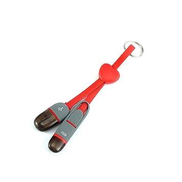 2 en 1 Micro USB Adaptador de Cargador iOS Cable Llavero del corazón por Cable sahpe para el iPhone Samsung teléfono Android (Rojo)