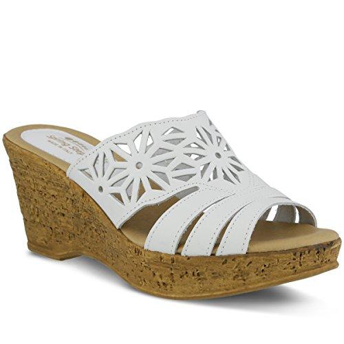 Spring Step Women's Dora Wedge Slide Sandal, White, 37 EU/6.5-7 M US