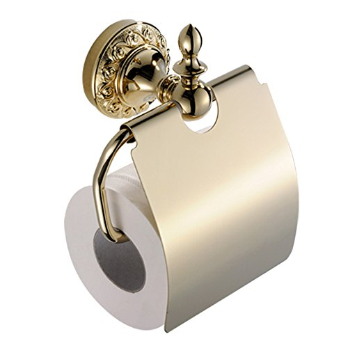 Leyden Wall Mount Bathroom TI-PVD Gold Finish Brass Material Toilet Paper Holder ()
