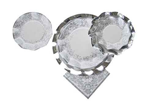 - Sophistiplate Disposable Paper Plate Set, Noblesse Silver (Patterned and Silver Plates), for 10 Guests, 70 Pieces for holidays, parties, showers, and any special entertaining!