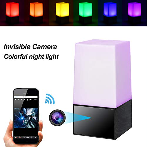 Hidden Camera Wireless Spy Camera Night Light Secret Covert WiFi Nanny Cam HD 1080P Video Recorder Desk Color LED Lamp Live Stream via Android, iPhone APP