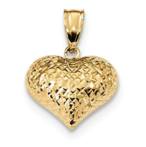 14k Yellow Gold Polished Textured Puffed Heart Charm Pendant ()