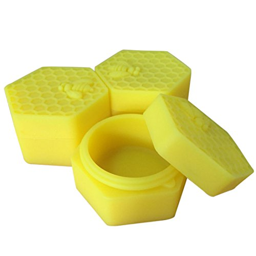 Honey Bee Non Stick (YHSWE 1PCS 26ml Yellow Top NonStick Hexagon Silicone Container Honeybee Silicone Jar Oil Wax Dab)