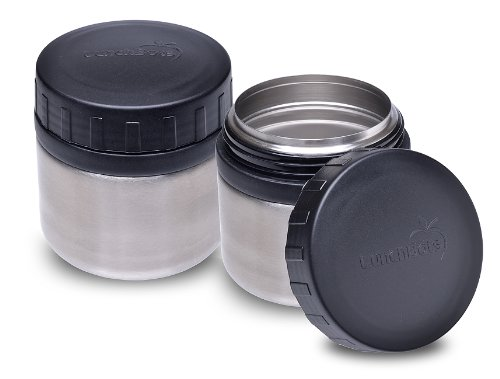LunchBots Rounds Stainless Steel Leak Proof Food Containers Black, Set of 2