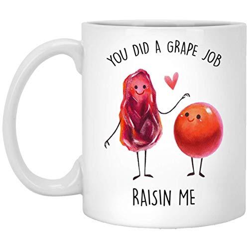 You Did a Grape Job Raisin Me Mug Gifts Ceramic 11oz Coffee - Tea Cup Awesome by HHH Store Coffee Mug ()