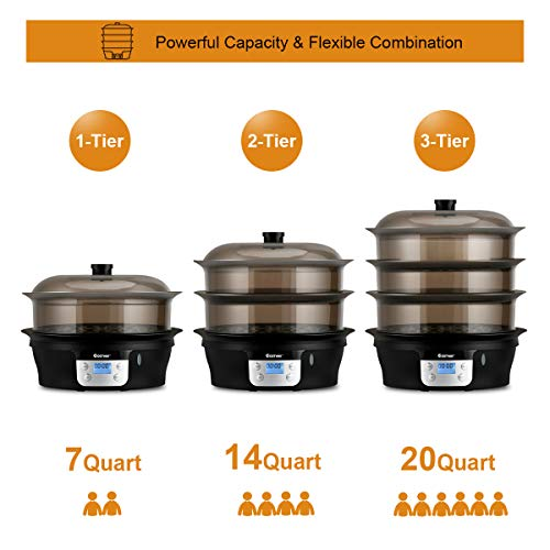 COSTWAY Food Steamer Vegetable Steamer 3 Tier Stackable Baskets 20 Quart Capacity 1000W Fast Heat-Up Timing, Automatic Shut Off, Appointment Electric Pot Cooker w/Food Tray by COSTWAY (Image #2)
