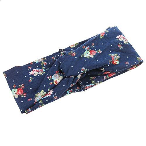 (UROSA Ladies Twist Knot Pattern Headband Elastic Head Wrap Turban Hair Band Flower)
