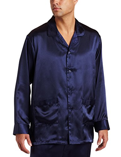 (Intimo Men's Poly Charmeuse 2 Pocket Button Front Pajama Top, Navy,)