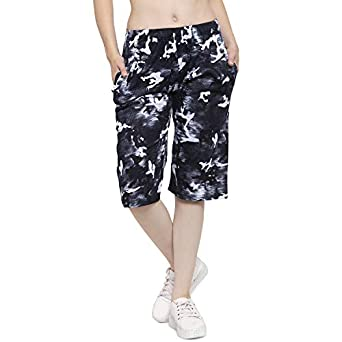 UZARUS Women's Girls Cotton Three Fourth Capri Shorts with Two Zippered Pockets