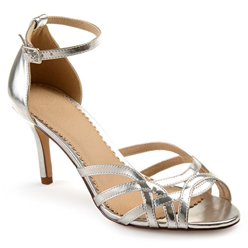 Journee Collection Womens Metallic Ankle Strap Heels Silver, 8 Regular US