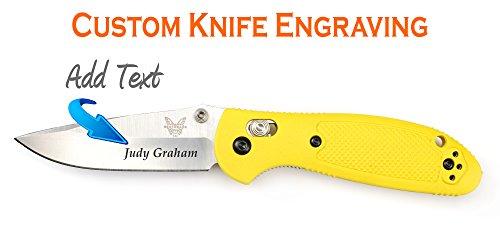 Drop Point Plain Edge Knife (Custom Laser Engraved Benchmade Mini-Griptilian Mod Drop Point Plain Edge Knife,)