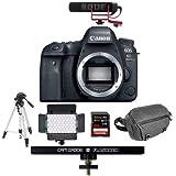 Canon EOS 6D Mark II DSLR Body - Bundle Rode VideoMic GO Lightweight On-Camera Mic, 64GB SDXC U3 Card, Tripod, Video Light, Peak 10L Everyday Sling, Cam Caddie 6in 1/4-20 Flashner Kit, Black