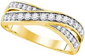 14kt Yellow Gold Womens Round Natural Diamond Crossover Band Fashion Ring (.50 cttw.)