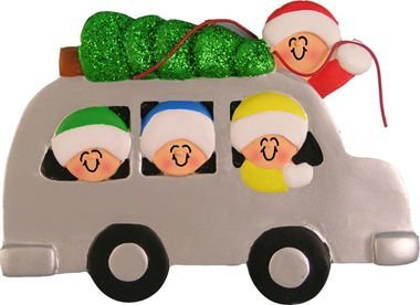 2205 Family of 4 with Christmas Tree Tied On Car Christmas Ornament