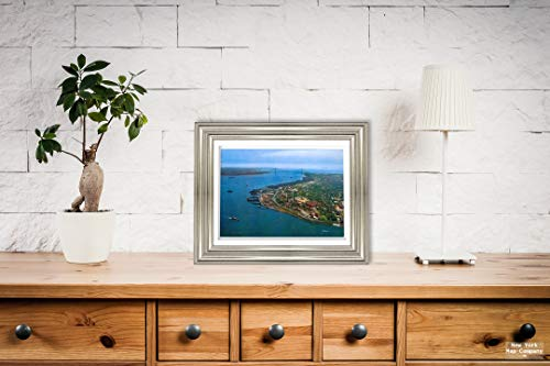 Entrance to New York Harbor Showing Verrazano-Narrows Bridge Beautiful Aerial View, Postcard Vintage Antique Fine Art Reproduction Photo |Size: 9x12|Ready to Frame