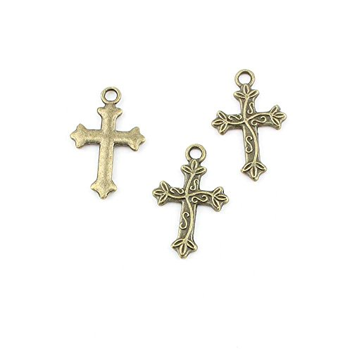 20 Pieces Jewelry Making Charms Findings C813148 Vines Cross Supplies Wholesale Ancient Fashion Bulk