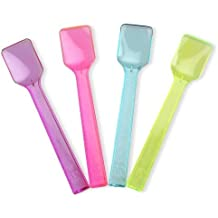 Mini Transparent Plastic Gelato Spoons For Tasting and Serving Gelato, Ice Cream, Frozen Yogurt, and other Frozen Desserts (25, Mixed)
