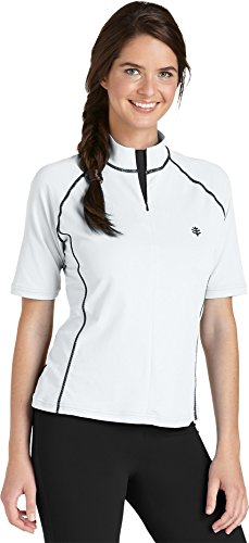 Coolibar UPF 50+ Women's Short-Sleeve Swim Shirt (X-Large - White/Black)